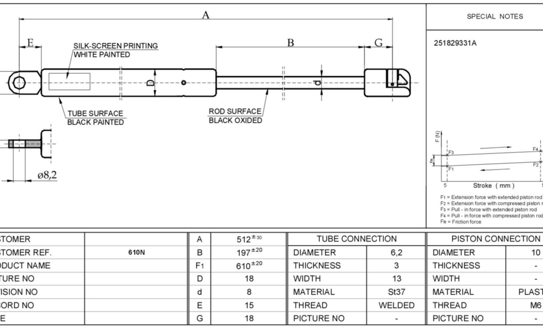 Gasdruckfeder VW Transporter T3 Bus+Kasten